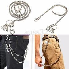 Men's Basic Classic Simple Strong Biker Trucker Key Jean Wallet Chain Silver