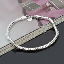 3MM 925 Silver Plated Snake Chains Bracelet fit European Beads