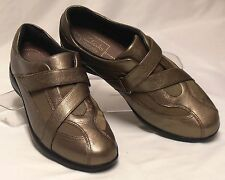 CLARKS Active Air Size 7 M Bronzy Gold Leather Cross-Strap Velcro Sporty Loafers