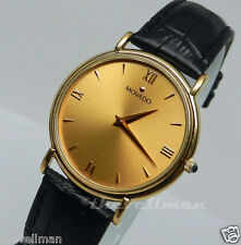 Mens Authentic Swiss Made Movado Gentry Gold Plated Gold Roman Dial Watch