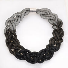 Newest Crystal necklace with braided mesh chain and tiny resin crystal BLACK