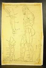 Dessin au crayon étude d'une sculpture d'Hercule Héraclès study in pencil c1930
