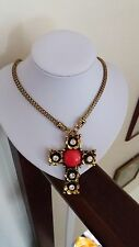 Chunky Gold Pendant Cross Necklace with Crystals and Red Bead