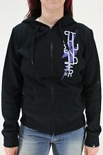 New DC SHOES Womens Marra Hoodie Sweatshirt M Black/Lightning Purple Thunder DR1