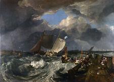 """1803 Joseph M.W Turner, Calais Pier, Boats, Ocean, ship, Sailing, 20""""x16"""" ART"""