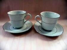 Translucent Fine China Salem Co. Lace Bouquet Pair of Cups and Saucers