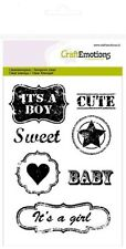 Craft Emotions Cling Rubber Clear Stamps A6 VINTAGE BABY ENGLISH TEXT LABEL 1246