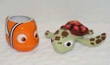 DISNEY NEMO 12 oz CLOWN FISH COFFEE MUG & SQUIRT SEA TURTLE PLUSH TOY EUC