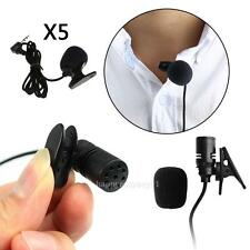 5x3.3FT Braided Wire Lavalier Lapel Tie Clip-On Microphone Mono 3.5mm Microphone