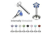 8 lot INTERNALLY THREADED Star Gem MONROE /LABRET LIP CHIN Ring Piercing Jewelry