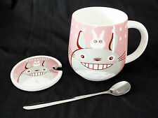 JAPANESE TOTORO PINK WHITE MUG COFFEE TEA CUP SPOON COVER BOX BIRTHDAY PARTY P3