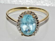 Beautiful 9ct Yellow Gold 2.00ct Blue Topaz & Diamond Cluster Ring - size P