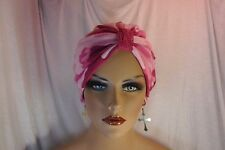 """Chemo Turban Pink CAMO with Lace Tab Knit """"Something4you"""" Hairloss Alopecia Hat"""