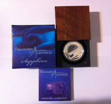 2007 $1 TREASURES OF AUSTRALIA SAPPHIRES 1OZ SILVER PROOF COIN