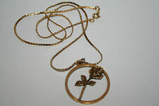 "Delta Kappa Gamma Society~Rose in a Circle Pendant Gold Tone Necklace 22""~ DKG"