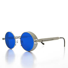 Round Silver Steampunk Goggle Sunglass with Blue Tinted Lenses  - ORWELL