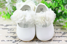 New Baby Girls White Christening Shoes 9-12 Months