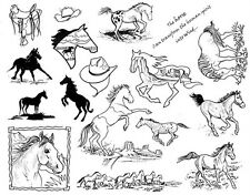 Unmounted Rubber Stamp Sheets, Horse Stamps, Horses, Scenic, Equine, Equestrian