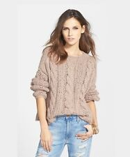 NWT Free People Maribel Cable Knit Sweater Soft Comfy Fawn S Pullover Top $298