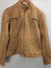 BR Monogram Banana Republic Soft Tan Nude Lamb Leather Moto Biker Jacket 350 S