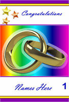 FREE P/P -GAY WEDDING -COMMITMENT CARD (Selection to choose) Personalised - A5