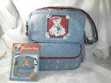 BLUE JEAN TEDDY BLOSSOM BEAR BOTTLE/DIAPER BAG NEW WITH TAG
