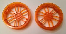 Lego Translucent Orange Technic Motorcycle Wheels New x 2