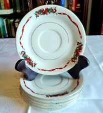 6 LYNNS FINE CHINA HOLIDAY CHEER SAUCERS