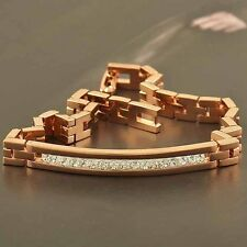 Shiny 9K Rose Gold Filled Cubic Zirconia Mens/Unisex Bracelet,Super Sexy...Z1657