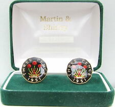 1951 Threepence cufflinks from real coins Black & Gold & Colours