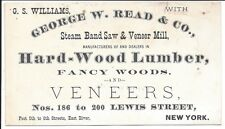 C1880 Business Card, Steam Band Saw & Vaneer Mill, Fancy Woods, etc, New York