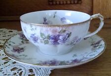 Haviland Limoge Cup & Saucer Purple Flowers with Gold Accents