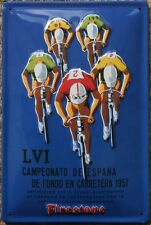 Cartel de ciclo Vintage Racing 1957 ciclismo Metal SIGN-Nuevo Firestone