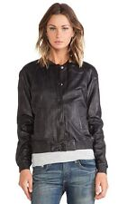 New  MAISON SCOTCH Black Sheeps Leather Bomber Jacket Sz 3 /UK 12 rrp £313