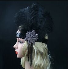 Black Ostrich Feather Headpiece Vintage Headband Flapper 1920s Great Gatsby