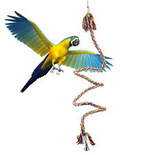 New 1.1m Long Rope Bungee Boing Swing Perch for Large Parrot Birds Toy With Bell