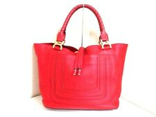 Authentic Chloe Leather Red Marcie Tote Bag with Dust Bag