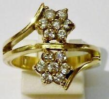 bague bijou vintage doré or rodhier zircon couleur diamant fleur T. 55 * 1778