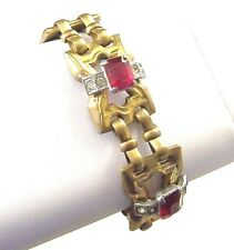 McCLELLAND BARCLAY Ruby Red and Diamante Deco Link Bracelet
