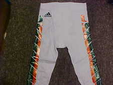 2015 NCAA Miami Hurricanes Game Worn/Used White Adidas Football Pants Size- M