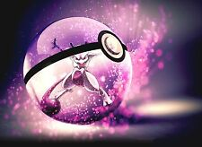 Photo Poster A4 Print High Quality Gloss Picture Of Pokemon Mewtwo Pokeball