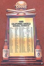 "1989 California Angels Large 24"" Coors Beer Easel Back Schedule"