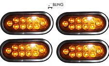 "4X AMBER 6"" Oval Oblong LED Turn Tail Signal Light Grommet Plug Truck Trailer"
