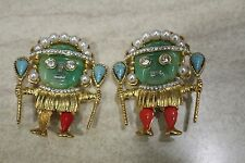 "2 Vintage Kenneth Jay Lane Aztec Warrior Pin Brooch ""Marked"""