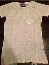 Womens Medium Free Love T  Shirt Pink  New Light Pink Burnout Vintage Worn Look