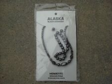 Hematite Alaska BLACK DIAMOND Necklace, Earrings & Bracelet Set NEW