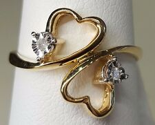 10k Yellow Gold Real Diamond Double Heart Crossed Ladies Fashion Ring