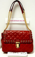 MICHAEL KORS HIPPIE GROMMET SLOAN Large Shoulder/Messenger Flap Bag Red
