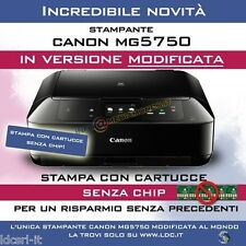 STAMPANTE INKJET CANON PIXMA MG5750 MODIFICATA 25 CARTUCCE INCLUSE COME MG5650