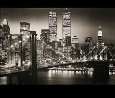 New York City Skyline Wall Art Decor Manhattan Brooklyn Bridge Twin Towers